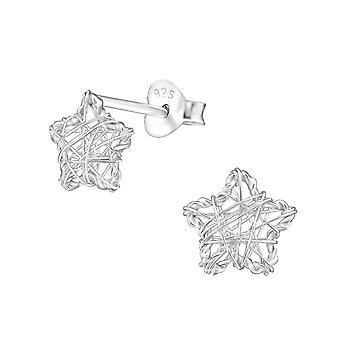 Ster weven - 925 Sterling Zilver Plain Ear Studs