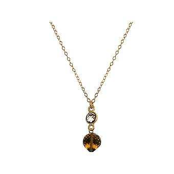 GEMSHINE necklace with smoky Quartz. Gemstone drops high-quality gold plated pendant on 45 cm chain. Made in Munich, Germany. Delivered in a fine case. Also as a SET with earrings.