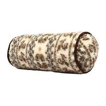 Neck roll neck pillow natural Brown wool 42 x 14 cm