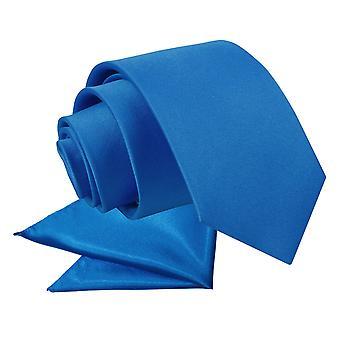 Electric Blue platte satijnen stropdas & zak plein voor jongens instellen