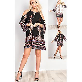 IKRUSH Womens Merilee Cold Shoulder Pattern Dress