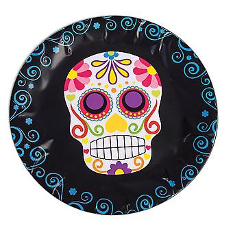Bnov Day Of The Dead Round Paper Plates for Halloween