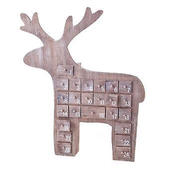 Gisela Graham Natural Wood Reindeer Advent Calendar