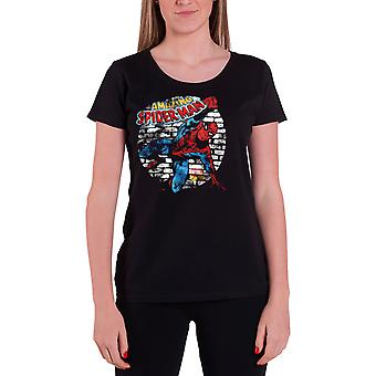 Spiderman T Shirt Distressed logo new Official Marvel Womens Skinny Fit Black
