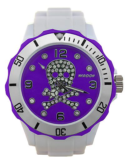 Waooh - zeigt Totenkopf Strass 39 White Dial & Blende Farbe Silber