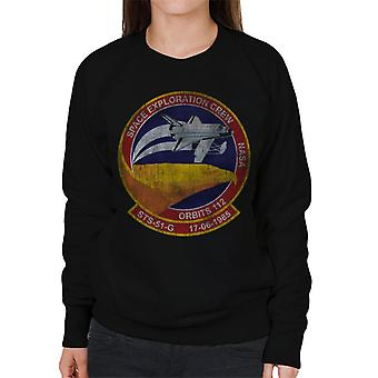 NASA STS 51 G Discovery Mission Badge Distressed Women's Sweatshirt