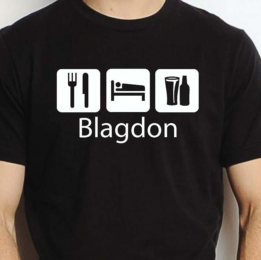 Eat Sleep Drink Blagdon Black Hand Printed T shirt Blagdon Town