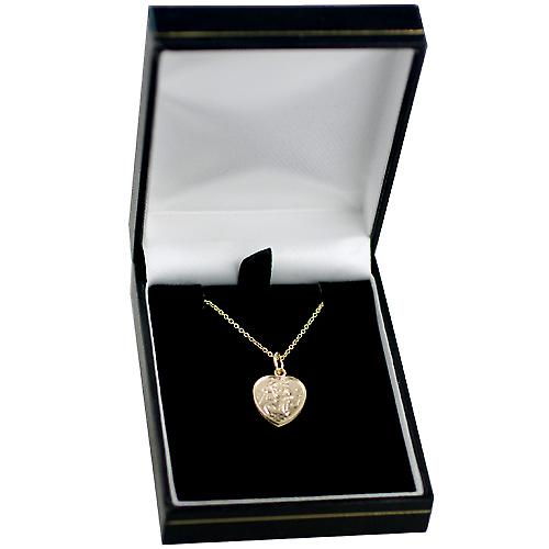 9ct Gold 15x13mm heart St Christopher Pendant with a cable Chain 16 inches Only Suitable for Children