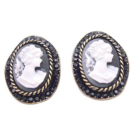 Cameo Jewelry with Jet Crystal Embedded Earrings