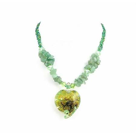 Green Tiny Beads Jade Nugget Holding Glass Heart Pendant Necklace