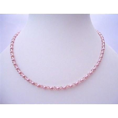 Handcrafted Vintage Rose Crystals Powder Rose Pearls Jewelry Necklace