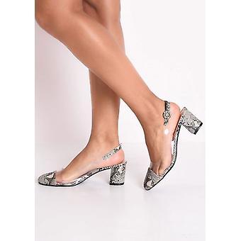 Wężowej wydruku Slingback akrylowego sądu blok Heeled sandały brązowe