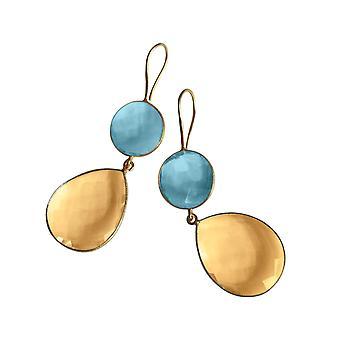 Gemshine Damen Ohrringe gold gelbe Citrin und Blautopas Quarz Tropfen. 925 Silber oder vergoldete Ohrhänger. Nachhaltiger, qualitätsvoller Schmuck Made in Spain