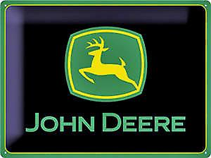 John Deere logo (black) large embossed steel sign  (na 3040)