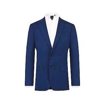 Dobell Mens tuta blu brillante giacca Slim Fit picco risvolto