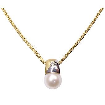 Chaîne en or avec pendentif perle et diamant