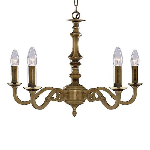 Searchlight 1075-5NG Malaga Traditional 6 Light Solid Brass Chain Pendant