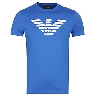 Emporio Armani store Eagle blå Logo t-skjorte
