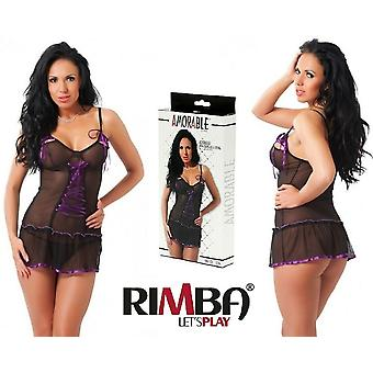 Rimba Lingerie See Through Black & Purple Mini Babydoll With G-String (1036)[...