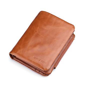 Hautton Leather Tri Fold Wallet -Tan