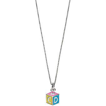 D For Diamond Childrens Sterling Silver Alphabet Block Necklace
