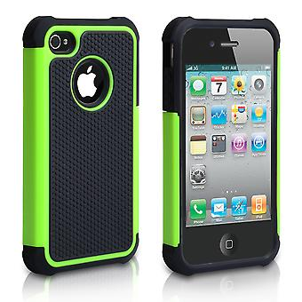 YouSave Accessories iPhone 4 4S Dual Combo Grip Case BlackGreen