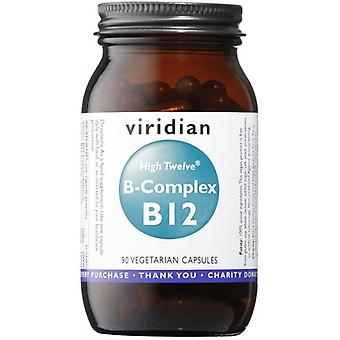 Viridian HIGH TWELVE Vitamin B12 with B-Complex Veg Caps 90 (257)