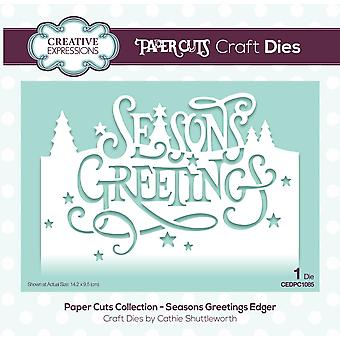 Creative Expressions Die Seasons Greetings Festive Wording Edgers | Paper Cuts Collection