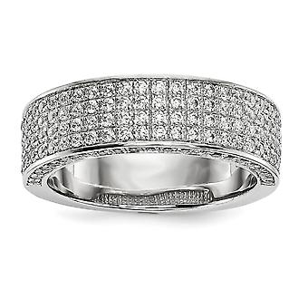 925 Sterling Silver Pave Rhodium-plated and Cubic Zirconia Fancy Ring - Ring Size: 6 to 8