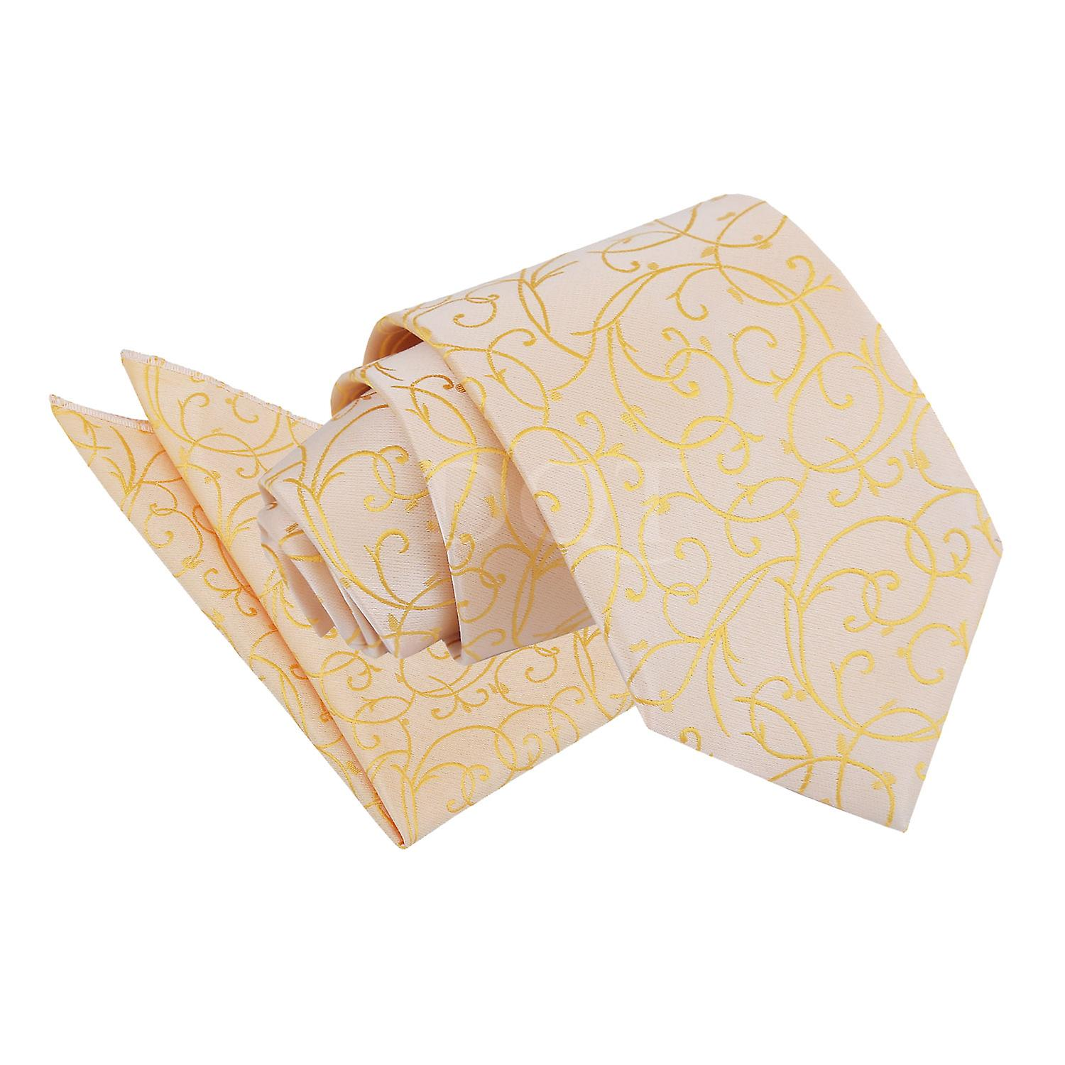 Gold Swirl Patterned Tie and Pocket Square Set