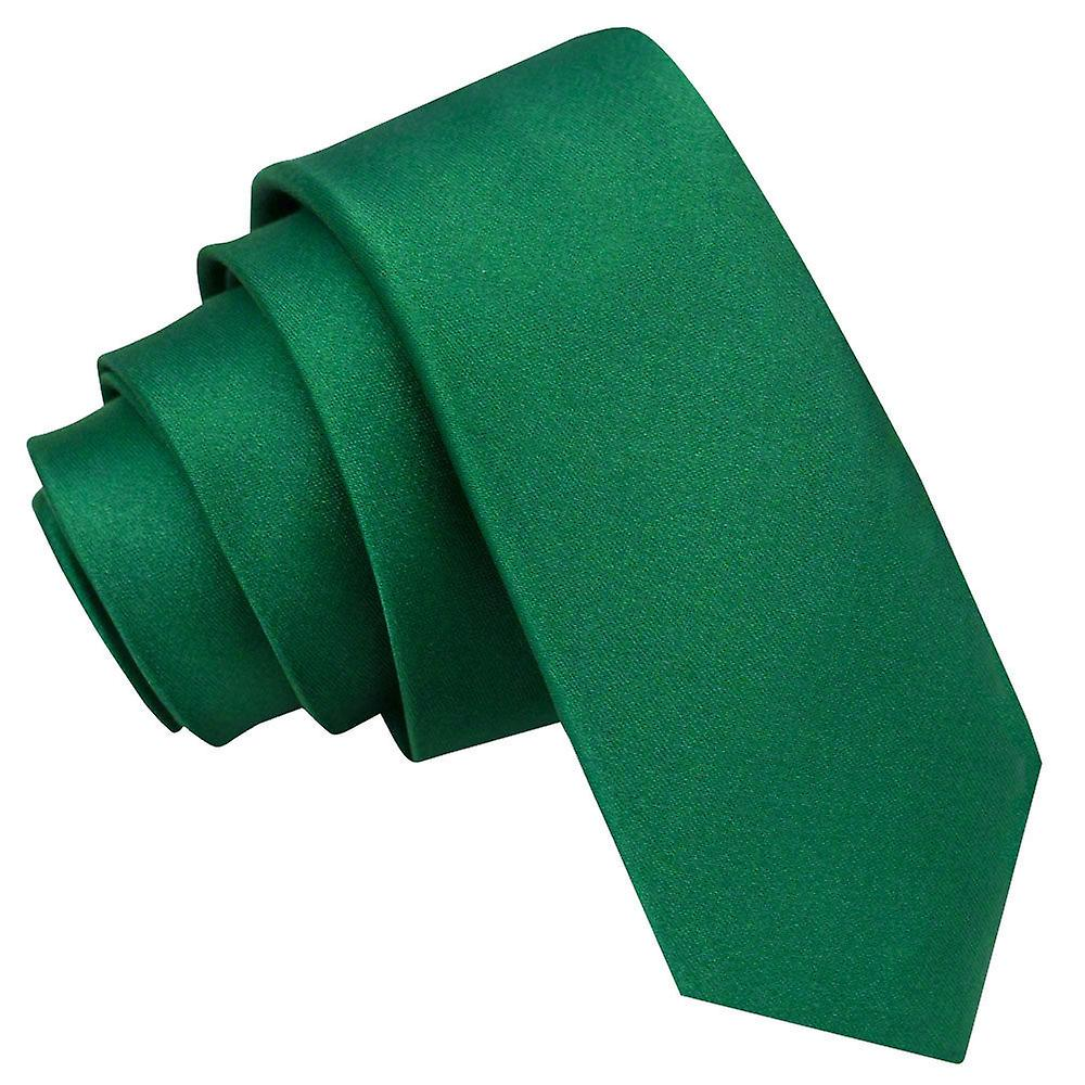 Plain Emerald Green Satin Skinny Tie