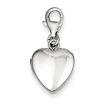 Sterling Silver Polished Lobster Clasp 12mm Heart Locket - 1.7 Grams