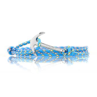 Vikings silver-line anchor bracelet in Blue Nylon with silver anchor