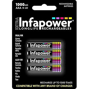 Infapower B002 AAA 1000mAh Ni-Mh genopladelige batterier 4 Pack (B002)