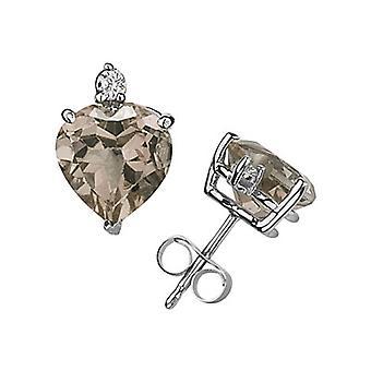 Hjerte-Cut Smokey kvarts og diamant Stud Øreringe, 14K hvidguld