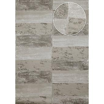 Stone tiles wallpaper Atlas ICO-5072-2 non-woven wallpaper smooth with natural patterns shimmering grey stone gray quartz-gray 7,035 m2