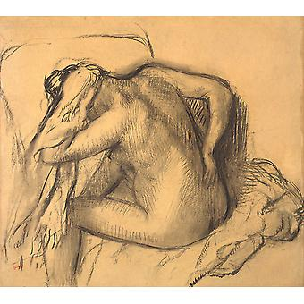 Edgar Degas - After the Bath Woman Drying Her Hair Poster Print Giclee