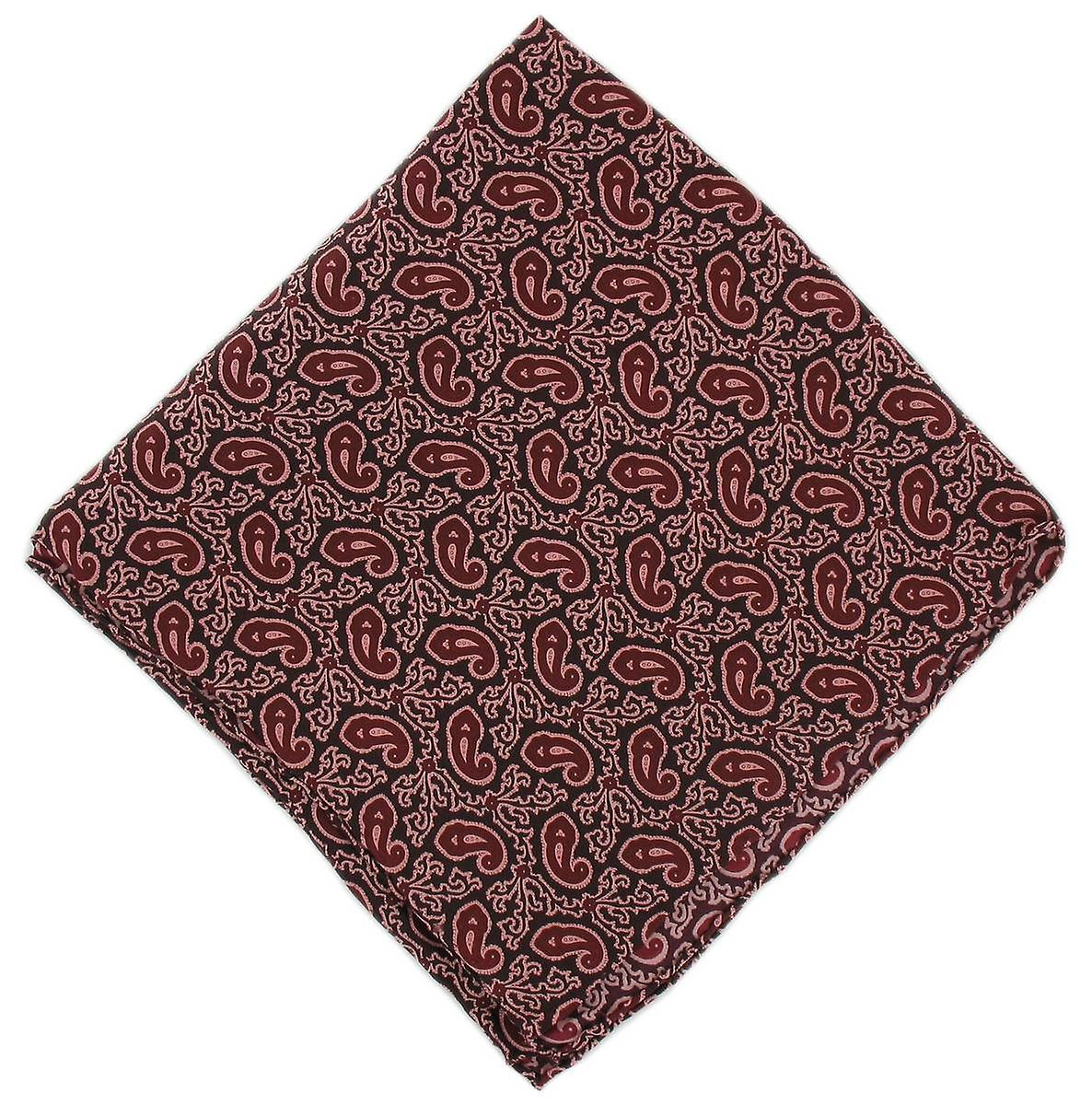 Michelsons of London Small Paisley Silk Handkerchief - Burgundy