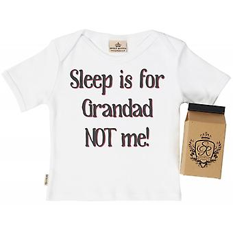 Spoilt Rotten Sleep Is For Grandad! Babys T-Shirt 100% Organic In Milk Carton