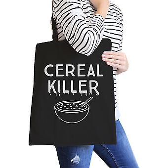 Cereal Killer Halloween Gift Bag Heavy Cotton Black Canvas Tote