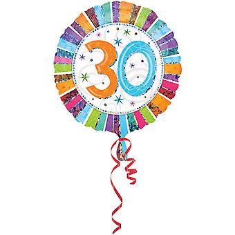 Amscan 18 Inch Rainbow Stripe Circular Foil 30th Birthday Balloon
