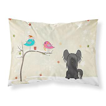 Christmas Presents between Friends Chinese Crested Black Fabric Standard Pillowc