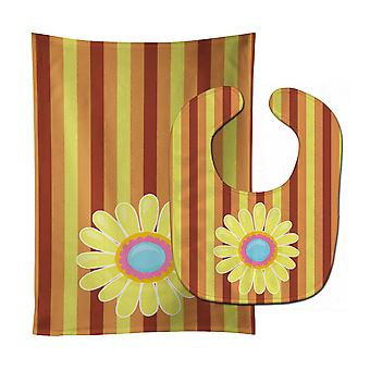 Carolines Treasures  BB9054STBU Heart Flower Baby Bib & Burp Cloth