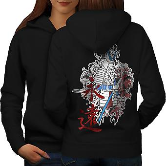 Art Fantasy Samurai Japan Women BlackHoodie Back | Wellcoda