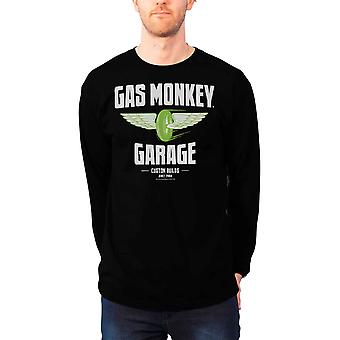 Velocidad del gas mono garaje T camisa ruedas nuevo manga larga negra hombre oficial