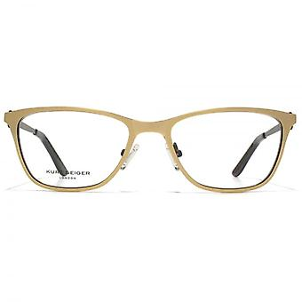 Kurt Geiger Ava Flat Sheet Glasses In Gold With Black Interior