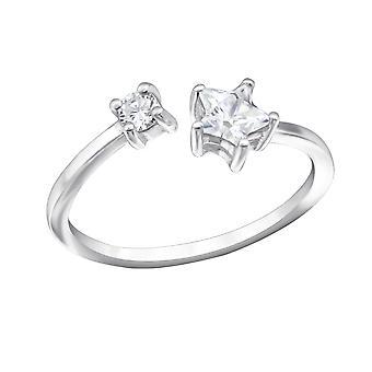 Open ster - 925 Sterling Zilver Jewelled ringen