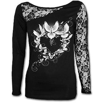 DOVES HEART - Womens Lace One Shoulder Top Black