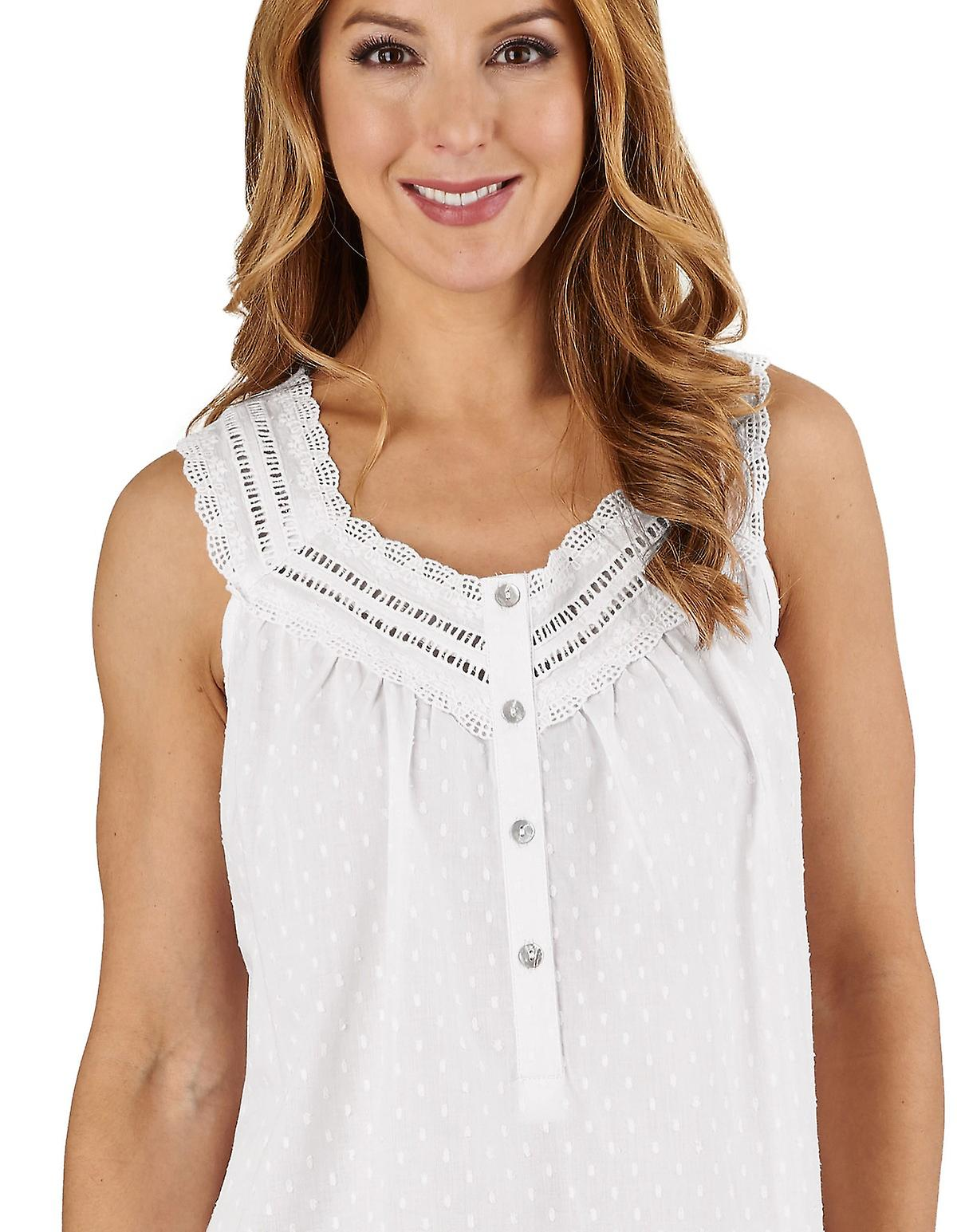 Slenderella ND1211L Women s Dobby Dot White 100% Cotton Night Gown  Loungewear Sleeveless Nightdress 1ba335f3a