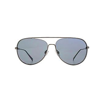 French Connection Chunky Metal Pilot Sunglasses In Dark Gunmetal
